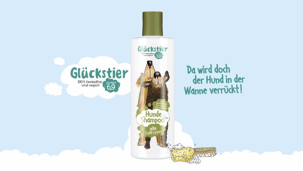 kochstrasse.agency Credentials & Cases – Glückstier – Glückstier Hundeshampoo Packaging Design