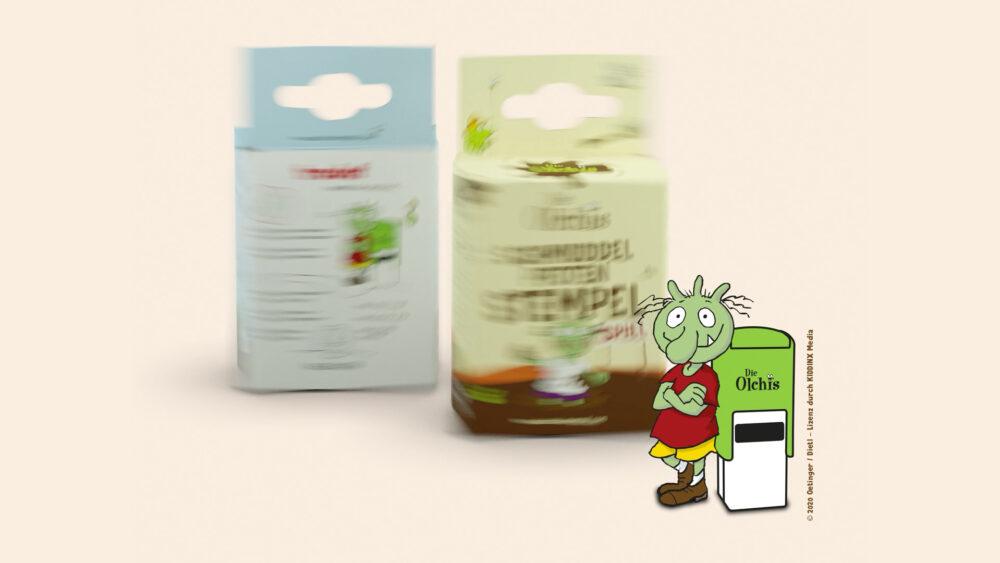 """kochstrasse.agency Credentials & Cases – trodat – Die Olchis """"Schmuddelpfoten-Stempel-Spiel"""" Packaging Design"""